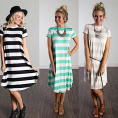 How cute are these striped t-dresses?! They are so easy to style plus extremely comfortable!! Only $22.99!