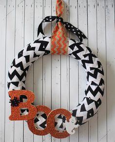 Fall Wreath - love the BOO chevron for Halloween