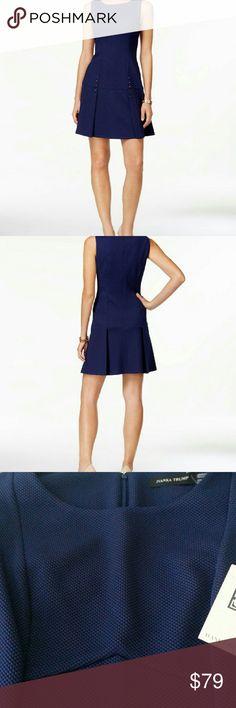 Ivanka Trump Dress Blue studded A-line dress. Crew neckline . Hidden zipper closure at back. Sleeveless.  Allover textured fabric. Pleated detail skirt. Subtle gold tone studs lend nautical appeal. Unlined. 96% Polyester 4% spandex. Ivanka Trump Dresses