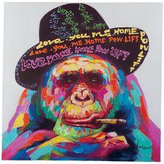 Peinture huile sur toile fait main art abstrait monkey - Tableau chapeau melon pomme verte ...