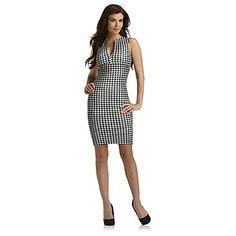 Kardashian Kollection- -Women's Sheath Dress - Houndstooth Check
