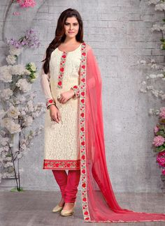 cream-chiffon-party-wear-embroidered-work-churidar-suit