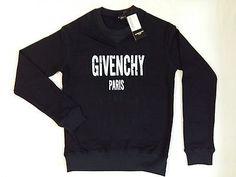 Givenchy Long Sleeve Blue Sweatshirt White Paris Print Holes & Scratches Size XL