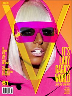There's quite a sixties vibe going on with this cover of V Magazine. Lady Gaga's hot pink clothes and ehm, glasses combined with the bright yellow text and bright orange background are very much in your face and leap off the page.