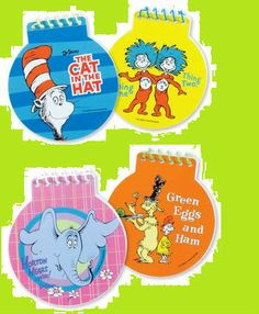 Dr Seuss Set of 4 Notepads Horton Cat in The Hat Green Eggs Ham Party Favors | eBay