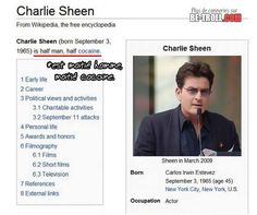 Charlie Sheen, selon wikipedia... - Be-troll - vidéos humour, actualité insolite