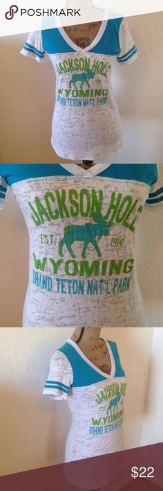 "Jackson Hole Moose TShirt NWOT FIRM PRICE +++Not J Crew-used for exposure. Jackson Hole-Grand Teton Nat'l Park, V-neck TShirt. Blue, green & white. Stripes on sleeves. White has burnout pattern. Style under a leather or denim jacket. NWOT!! No flaws, just never got around to wearing it. Cotton/Poly blend. Size M - 18"" armpit to armpit, 26"" shoulder to bottom, 7.5"" sleeve length. Non-smoking home, no trades, no lowball offers. 1101 16 J. Crew Tops Tees - Short Sleeve"