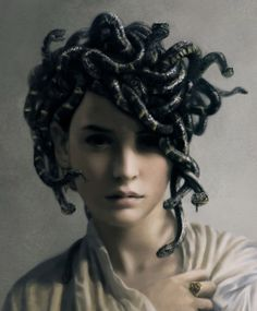 Young Medusa By J Simeth. (I've always felt bad for Medusa.so unfair to be cursed for her beauty by a jealous goddess) Costume Meduse, Medusa Pictures, Foto Portrait, Image Digital, Digital Art Gallery, Gods And Goddesses, Greek Mythology, Classical Mythology, Mythical Creatures
