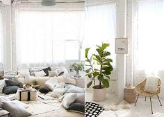 Mur en briques peint en blanc. Décoration style berbère, couleurs claires et matières naturelles.  Atelier de Designlovefest.