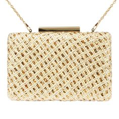 Zapals Designer Box Clutch Rhombus Pattern Woven Evening Handbag-Gold. This stylish Box Clutch from ZAPALS is crafted of sparkling paillette woven with a detachable drop-in shoulder chain. It is not only perfect for your party elegant attire but cool even pair with jeans and a metallic T-Shirt.ZAPALS designer box clutch. Sparkling paillette woven design. Trendy, elegant design. Detachable shoulder chain. Chic clasp closure. Cross-body bag/ box clutch. Perfect for both special.
