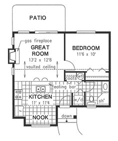 This cottage design floor plan is 574 sq ft and has 1 bedrooms and has 1 bathrooms. Small Floor Plans, Cottage Floor Plans, Cottage Style House Plans, Cabin Floor Plans, Small House Plans, House 2, Cottage Homes, Small Cottages, Small Houses