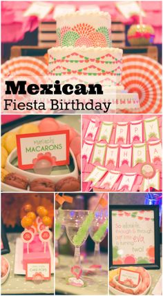 Girly Mexican fiesta birthday party ideas perfect for a girl birthday! See more party ideas at CatchMyParty.com. #mexican #fiesta
