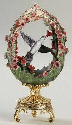"""FRANKLIN MINT HOUSE OF FABERGE. Floral Hummingbird egg. """"Garden Majesty"""". replacements.com"""