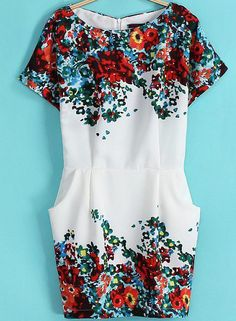 White Short Sleeve Floral Bodycon Dress