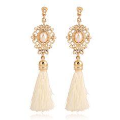 Retro Royal Statement Pearl Rhinestone Crystal White Black Tassel Earrings for Women Long Dangle Drop Earring Ethnic Jewelry