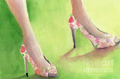 Flowered Shoes Fashion Illustration Art from an original watercolor painting. Unframed, framed and canvas art prints for sale from $37. © Beverly Brown. www.beverlybrown.com