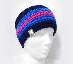 Headband Navy Bright Blue & Hot Neon Pink Crochet Winter
