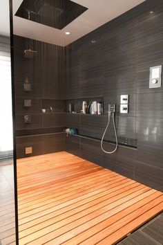Contemporary Master Bathroom with Handheld showerhead, Master bathroom, Daltile Fabrique Noir Linen Porcelain Field Tile