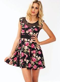 Floral Mesh Skater Dress