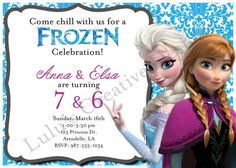 Frozen Birthday Invitation  Joint/Double by LulusCreativeDesigns...would be perfect for our double party!