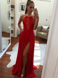 Unique Prom Gown,A-Line Halter Prom Dress,Sexy Split-Front Evening Dress,Red Chiffon Prom Dresses 2017,Long Prom/Evening Dress,Long Prom Dress,Graduation Dress,P078