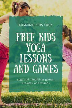 free kids yoga lesson plans, kids yoga games, kids yoga printables, mindfulness for kids, and resources for teaching kids yoga Mindfulness For Kids, Mindfulness Activities, Mindfulness Quotes, Yoga Lessons, Lessons For Kids, Yoga For Kids, Exercise For Kids, Exercise Plans, Pranayama
