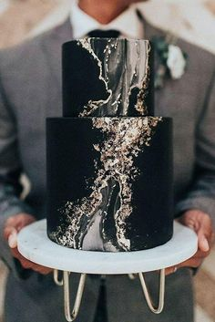 Black and Gold Marbled Gemstone Wedding Cake