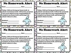 No Homework Alert - Note for ParentsKeep your parents informed with this No Homework Alert. This note can be used when a student forgets to complete his or her homework. Just staple it in their Homework Notebook, Planner, or Agenda. These notes are fantastic for communication/documentation purposes.This set includes:1 Behavior Alert (4 copies per sheet) (multi-colored stars)1 Behavior Alert (4 copies per sheet) (purple stars)1 Behavior Alert (4 copies per sheet) (black and white)Enjoy!:)