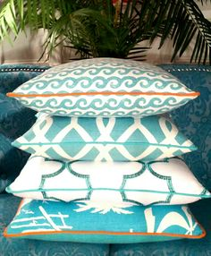 - Palm Beach / Caribbean Waters -| Beach Pillows | Coastal Pillows