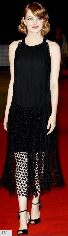Emma Stone: Dress – Chloe  Shoes – Christian Louboutin  Earrings – Van Cleef & Arpels