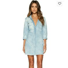 7 For all Mankind Boyfriend Denim Dress Great Condition! Blue Boyfriend Dress With Raw Hem Sold Out everywhere! A must must have in your closet. 7 for all Mankind Dresses Midi