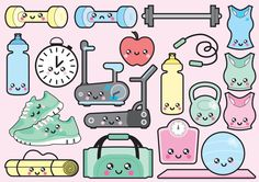 High quality vector clipart. Adorable workout vector clip art. Kawaii gym clipart set. Kawaii clipart! This set features kawaii exercise bike, treadmill, yoga mat, dumbbells and more! Perfect for creating greeting cards,invitations, gift wrap and stationery, decorating your blog or website, designing posters and room decor. Can be used for digital or print. Great for gift cards and wrapping paper, scrapbooking and blogs or websites.  These high quality vector elements come in a fully…