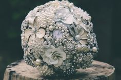 Wedding Brooch Bouquet - Nic's Button Buds  ivory white silver