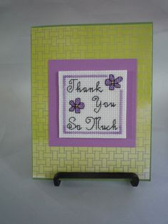 Thank you so much cross stitched greeting card by HMCrafters, $5.50