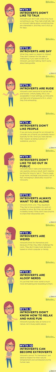myths about introverts, hey rude! Who's yhe idiot extrovert who wrote this shit?