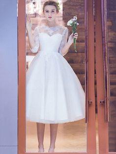Pretty A-line Scoop Neck Tulle Tea-length Appliques Lace 1/2 Sleeve Wedding Dresses #DGD00022708