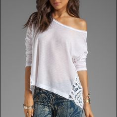 Free People Crop Sweater Worn twice, great. Pink and white, crochet detail, fit is loose. Light sweater material. Free People Tops Crop Tops