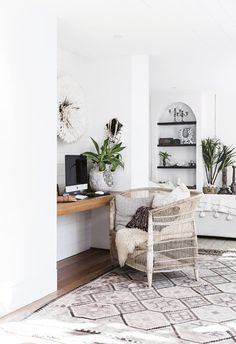 With an African Juju hat and jewellery pieces on the wall, the study nook and home office is set to inspire Decor, Home, Living Room Designs, Interior, House, Boho Beach House, House Interior, Contemporary Beach House, Retro Home Decor