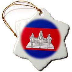 3dRose Flag of Cambodia - Cambodian red blue with white Angkor Wat Hindu Buddhist temple - black outline, Snowflake Ornament, Porcelain, 3-inch