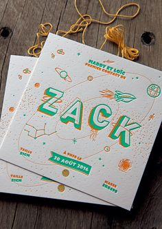Faire-part Zack 15x15cm imprimé en 2 couleurs - création Agence Bunker Palace / Baby boy birth announcement - design by Bunker Palace