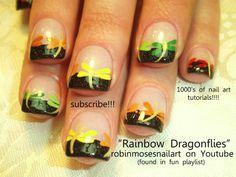 Nail-art by Robin Moses RAINBOW dragonflies http://www.youtube.com/watch?v=nCw_8jKT7Jo