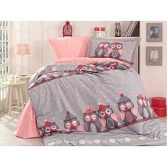 Dose Of Modern Linda - Grey Poplin Single Quilt Cover Set - Grey Pink White Red