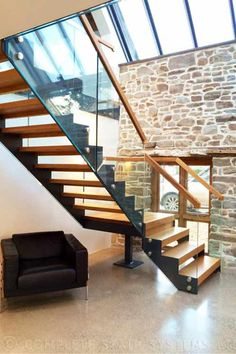 Steel Structure Modern Stair Gallery with solid timber treads and glass balustrade. A complete view of our completed projects with links to project pages. Bespoke Staircases, Wooden Staircases, Stairways, Timber Stair, Bathroom Under Stairs, Cantilever Stairs, Stair Gallery, Building Stairs, Beautiful Stairs