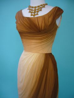 killer couture ombre draped 50's glamorous silk gown