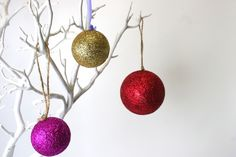 Glitter baubles inspired by Kirstie Allsopp's Crafty Christmas. find out how to make them on the Hobbycraft Blog