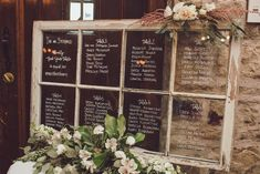 Seating chart on old white window frame with white writing and white and green floral's at Vineland Estates winery in Vineland Ontario. Seating Arrangement Wedding, Seating Chart Wedding, Seating Charts, Floral Wedding, Fall Wedding, Dream Wedding, Wedding Ideas, Vineland Estates, Enchanted Forest Wedding