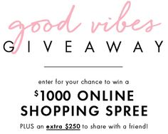 Win $1,000 jewelry shopping spree plus $250 for a friend.  The Good Vibes Giveaway - get ready for gifting season!