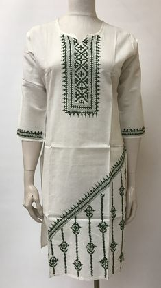 This unique embroidery on clothes is unquestionably a remarkable design approach. Embroidery Suits Punjabi, Embroidery On Kurtis, Hand Embroidery Dress, Kurti Embroidery Design, Embroidery Neck Designs, Embroidery On Clothes, Embroidery Works, Kurti Neck Designs, Blouse Designs