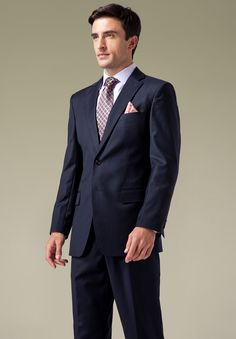 Mens Navy Blue With Multi Stripe Wool Suits