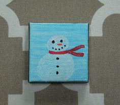 Snowman Tiny Magnet #3 Drawn Art by CottonwoodCove on Etsy